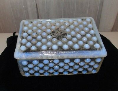 Antique Fenton Moonstone Hobnail  Covered Cigarette Box/Trinket