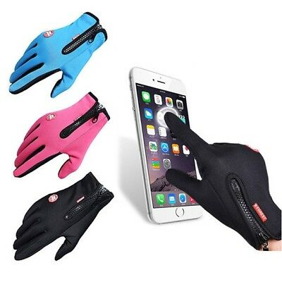 Leather Thermal Warm Fleece Lined Gloves Men Womens Running Walking Touch Screen