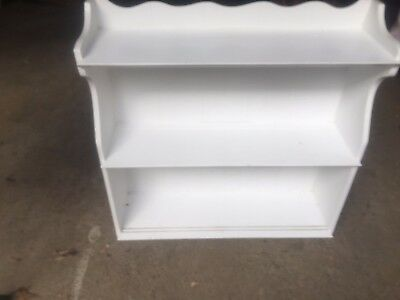Vintage farm house chic 3 shelf wall or topper unit bead board painted white