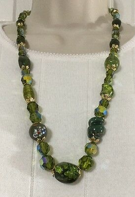 Vintage Venetian Murano Italy Green Aventurine Glass Beaded Necklace