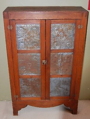 Antique Vintage Primitive Punched Tin Front Pie Safe Jelly Cupboard
