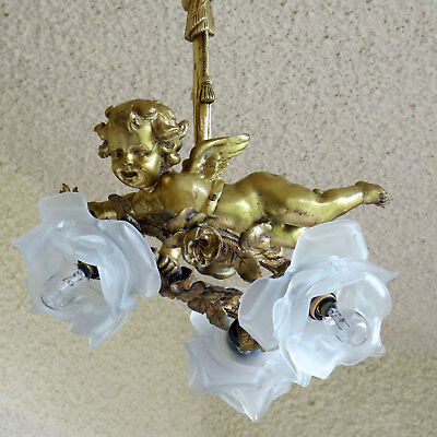 Antique French Victorian Bronze Chandelier Cherub Three Lights