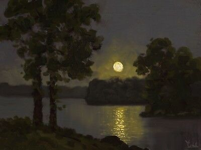 MAX COLE original oil painting landscape signed antique moon lake vintage art 71