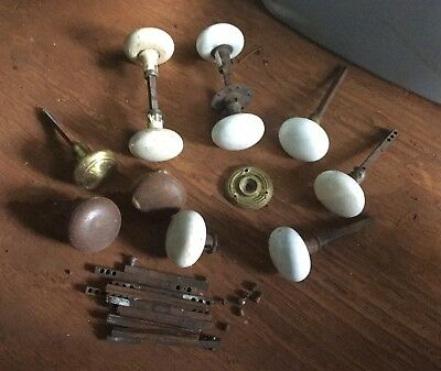 Vintage Antique Lot of White Porcelain & Brass Door Knobs & Hardware