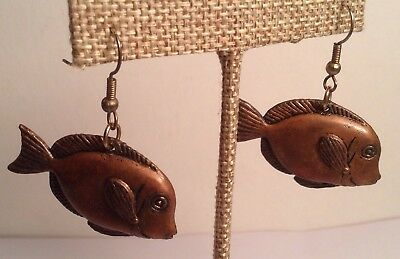 Vintage Pair Of Copper Hollow Made Fish Wire Hook Earrings Very Cool