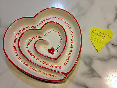 Red White Pottery Heart Dish Plate Valentines Day A Sweet Treat is Fun to Eat