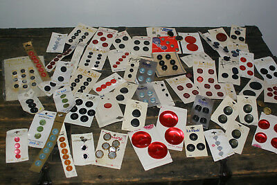Lot of Vintage Carded and Loose Buttons Mixed sizes, colors & shapes