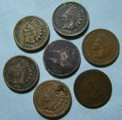 1857 Flying Eagle Cent, 1859 1860 1862 1863 1882 1884  Indian Head Cents, Lot