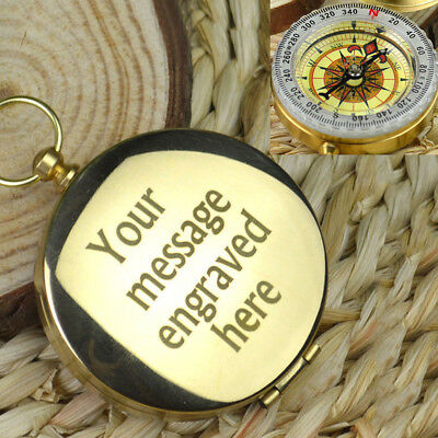 Personalised Engraved Coordinate Compass Valentines Gift Outdoor EDC Pocket Tool