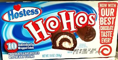 1 Box Hostess Ho Ho's- Chocolate Cake Rolled with Creamy Filling 10 count