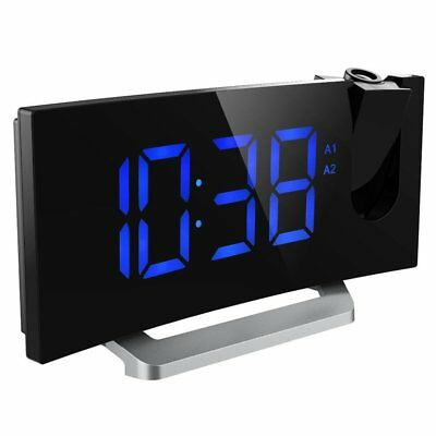 """LCD Digital LED Projector Projection FM Radio Snooze Alarm Clock 5"""" Large Screen"""