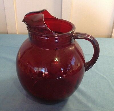 Vintage Heavy Ruby Red Glass Pitcher