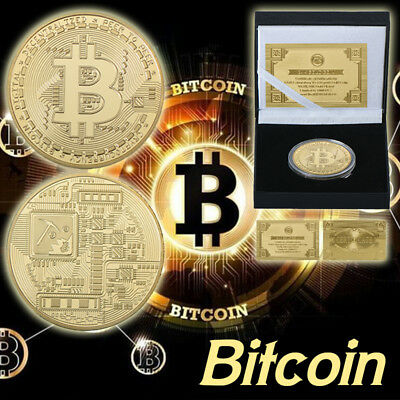 WR 24K Gold Plated Bitcoin Coin Physical BIT Iron Coin Collectibles In Gifts Box