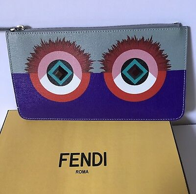Authentic Fendi Monster Eye Pouch Leather Flat Pouch, Purple/Grey Blue/Red