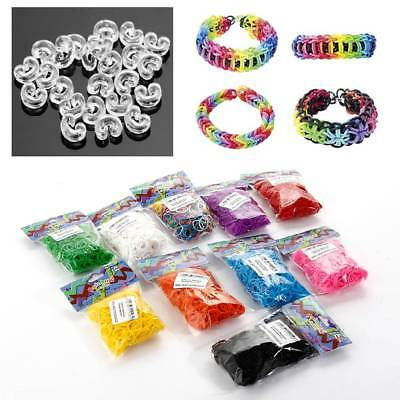 600stk Rainbow Loom DIY Bands Gummibänder Gummiringe Rubber Loops Kit für Kinder