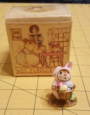 1982 Wee Forest Folk M-82 Easter Bunny-Mouse Pink Annette Petersen with WFF Box