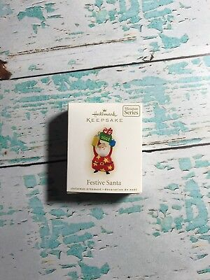 Hallmark Festive Santa #1 Series 2009 Miniature Christmas Keepsake Ornaments