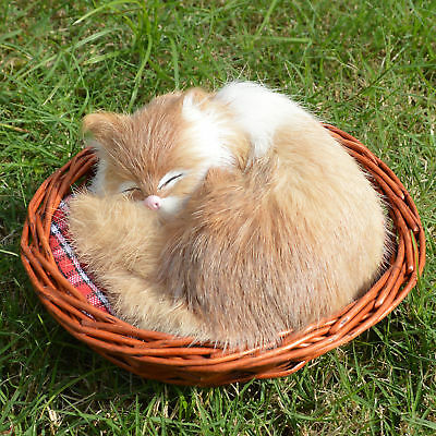 Lifelike Sleeping Cat in Basket Realistic Furry Figurine Animal Kitten Pet Prop