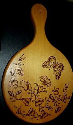 Gorgeous Wood Burned Wooden Cutting Board or Trivet Butterfly Flower Leaves