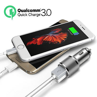 12V Dual USB Car Charger QC3.0 3A+2.4A Hi-Speed Fast Phone iPhone Samsung HTC LG
