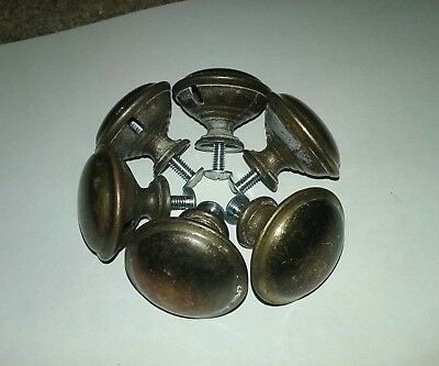 AGED VINTAGE SMALL BRASS DRAWER KNOBS , PULLS , LOT OF 6 With SCREWS