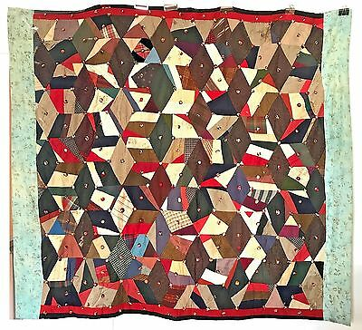 Antique Vintage Crazy Quilt Great Colors & Fabrics Geometric Shapes