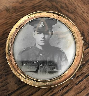 Vintage 1910 WWI Trench Art Brass Picture Frame & Photo of British Soldier