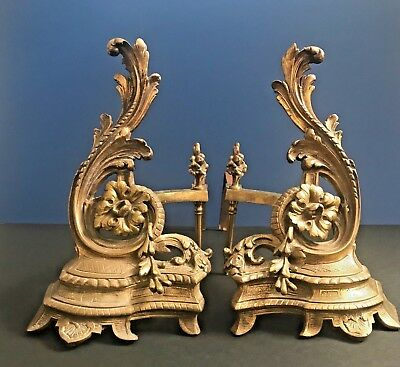 Antique Rococo Gilt Bronze Chenets Andirons Firedogs Acanthus Fireplace