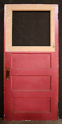"34""x76""x1.75"" Antique Vintage Solid Wood Wooden Exterior Entry Door Window Panel"