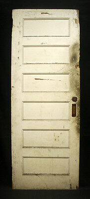 "30""x82 Antique Vintage Interior Wood Wooden Pocket Sliding Door 6 Recessed Panel"