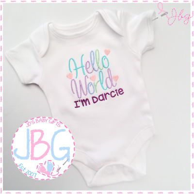 Personalised 'Hello World' Vest,Bodysuit,  New baby girl, clothes onsie