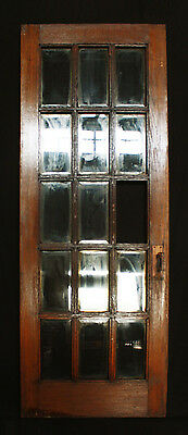"31""x83"" Antique Vintage Arts Crafts Interior French Oak Door Beveled Glass Lites"