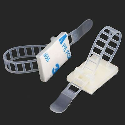 Nylon White CL-2 Cable Tie Mount Clip Zip Holder Self Adhesive With Cable Ties