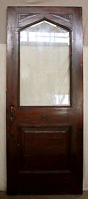 "36""x90"" Antique Tudor Exterior Entry Wood Door Beveled Glass Lite Arched Window"