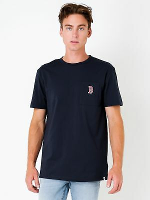 New Majestic Boston Red Sox Logo Pocket T Shirt In Navy Mens T Shirts