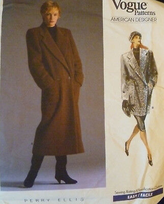 Vtg Vogue Pattern 1935 Perry Ellis Winter Coat Sz 8 Classic Style & Easy Uncut