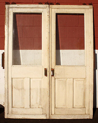 "62""x79"" Antique Vintage Solid Wood Sliding Pocket Double Door Beveled Glass Lite"