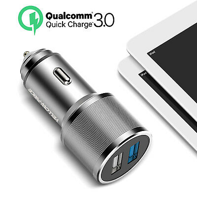 [Top Speed]Universal Mini Dual USB Car Charger Twin-Port LED Light Socket-Sliver