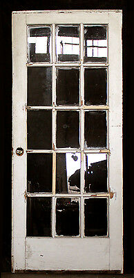 "34""x80"" REPAIRED Antique Interior French Wood Wooden Door Glass Lite Pane Window"