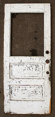 "34""x80""x1.75"" Vintage Antique Wood Wooden Exterior Entry Side Back Door Window"