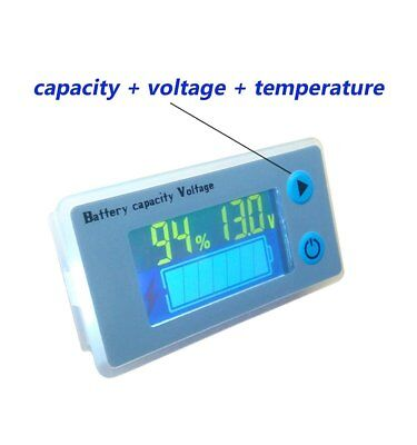 Multifunction LCD Lead Acid Battery Capacity Meter Voltmeter with Temperature