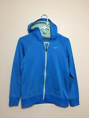 Youth Kids XL Nike Therma Fit Blue Cyan Full Zip Hooded Jacket Sweater