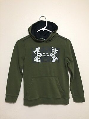 Youth Small Under Armour Army Green White Gray Big Logo Pullover Hoodie Sweater