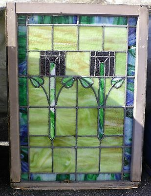 Large Antique American Made Stain Glass Window Needs Repairs