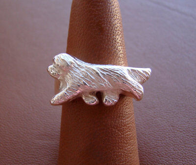 Sterling Silver Bearded Collie Moving Study Ring