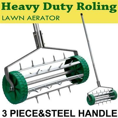Heavy Duty Rolling Grass 3 Piece Steel Handle Lawn Garden Aerator Roller