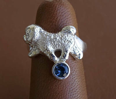 Sterling Silver Bichon Frise Moving Study Ring With Topaz Accent