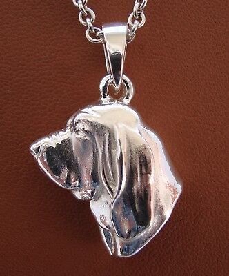 Large Sterling Silver Bloodhound Head Study Pendant
