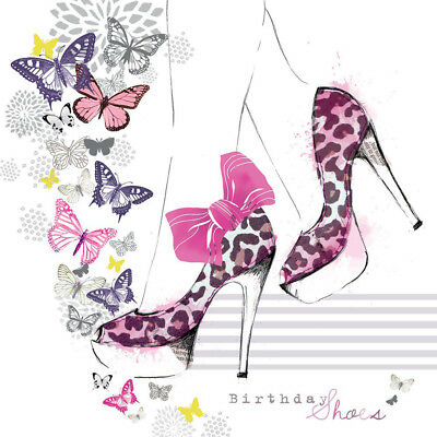 Shoes Birthday Card High Heels With Bow Pretty Glitter Greeting Card