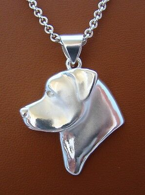 Large Sterling Silver Rottweiler Head Study Pendant